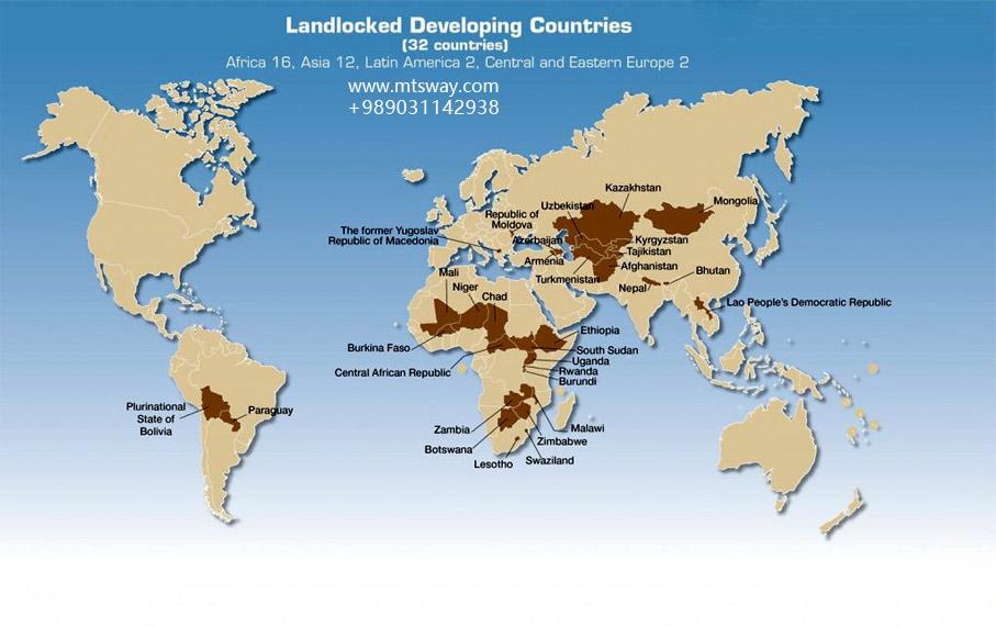 نقشه کشورهای محصور در خشکی